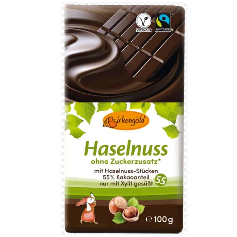 Birkengold zuckerfreie Haselnussschokolade