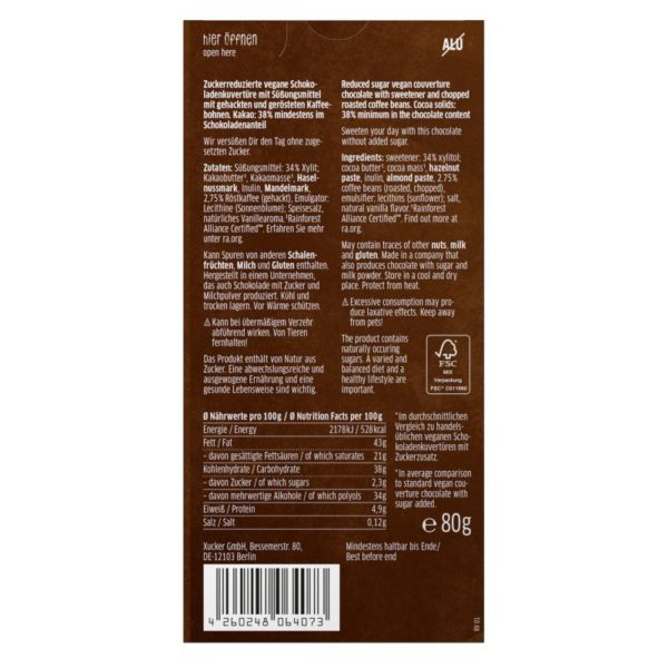 Xucker Kaffee Vegan Tafelschokolade