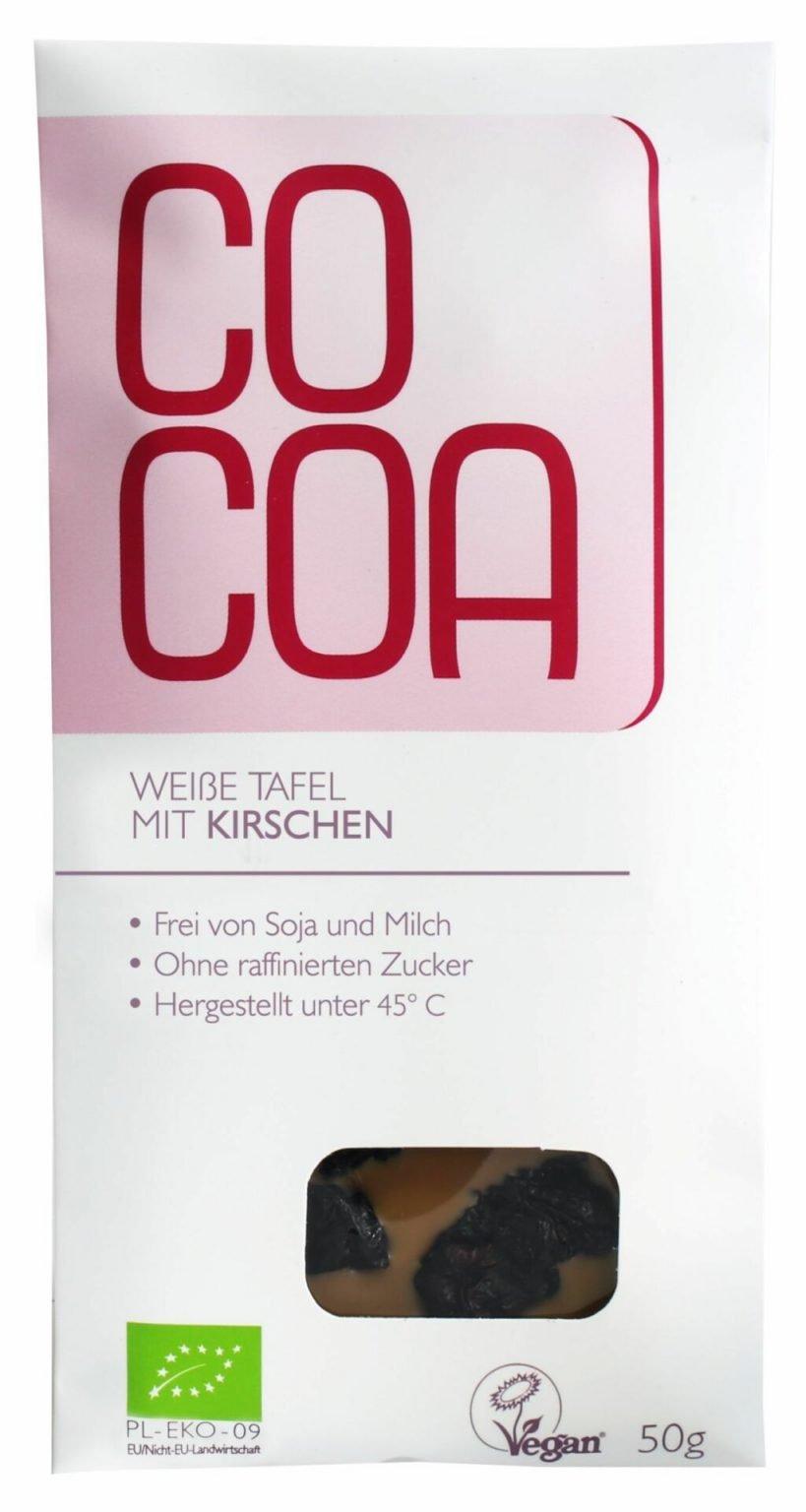 Cocoa zuckerfreie Weiße Schokolade Kirsch