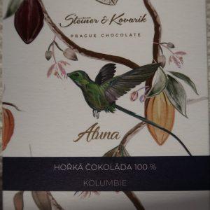 Steiner und Kovarik zuckerfreie Zartbitterschokolade 100 % Kolumbien bio